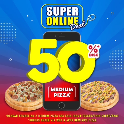 2 Medium Pizza HEMAT 50%